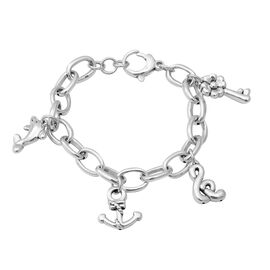 Multi Charm Bracelet with Lobster Clasp in Sterling Silver 19.66 Grams 7.25 with 0.5 inch Extender
