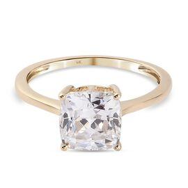 J Francis 9K Yellow Gold Ring Made with SWAROVSKI ZIRCONIA 4.70 Ct.