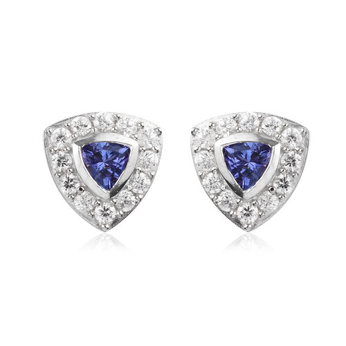 AAA Tanzanite and Natural Cambodian Zircon Stud Earrings (with Push Back) in Platinum Overlay Sterli