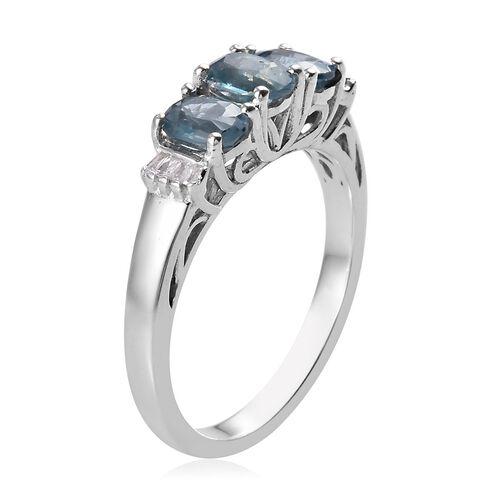 Indigo Kyanite and Diamond Ring in Platinum Overlay Sterling Silver 1.30 Ct.