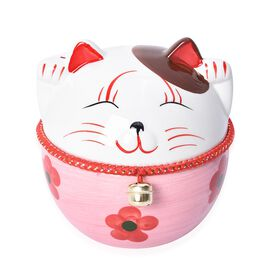 Ceramic Lucky Fortune Cat Coin Bank with One Bell (Size 6x8 Cm) - Pink