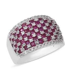 4.01 Ct Burmese Ruby and Zircon Cluster Cocktail Ring in Rhodium Plated Sterling Silver 7.6 Grams