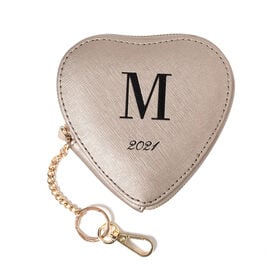 100% Genuine Leather M Initial Heart Shape Coin Card / Purse with Key Chain in Gold Colour (Size 12x