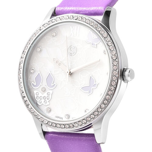 3 Piece Set - Simulated Diamond, Purple Shell Pearl and White Austrian Crystal Butterfly Watch with Purple Strap, Necklace and Earrings