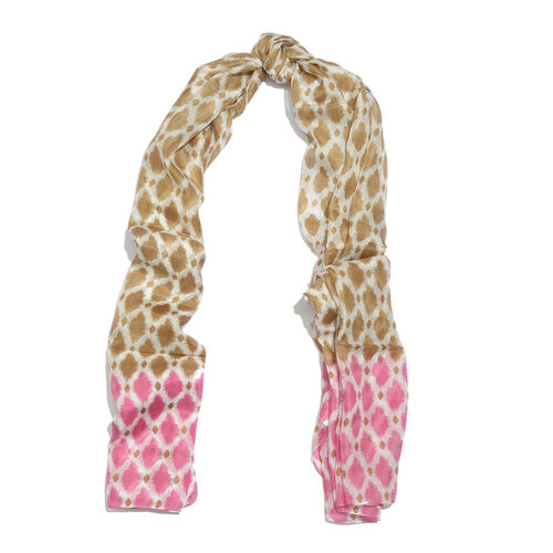 100% Mulberry Silk Pink, Brown and White Colour Handscreen Printed Scarf (Size 175X100 Cm)