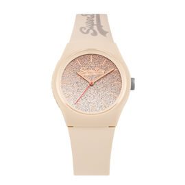 Superdry Urban Ombre Glitter Ladies Watch Nude Silicone Strap with Glitter Dial