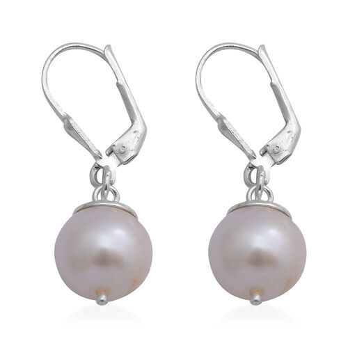Freshwater Pearl Lever Back Earrings in Sterling Silver