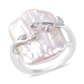 Keshi Baroque Pearl and Zircon Leafy Vine Solitaire Ring in Rhodium Plated Silver