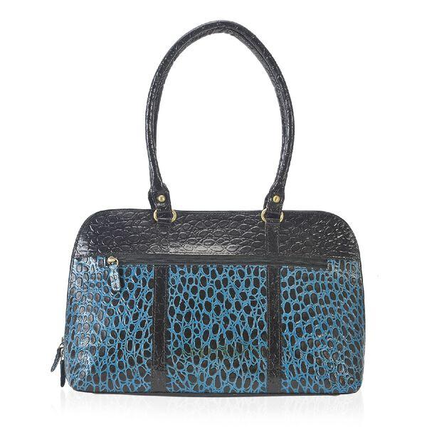 100% Genuine Leather Shoulder Bag (Size 38x22.89x9 Cm) - Black and Blue