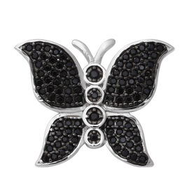 Boi Ploi Black Spinel (Rnd) Butterfly Pendant in Rhodium and Black Overlay Sterling Silver 1.50 Ct.
