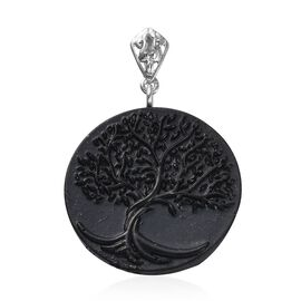 Constituted Elite Shungite Life of Tree Pendant in Rhodium Overlay Sterling Silver 16.980 Ct.