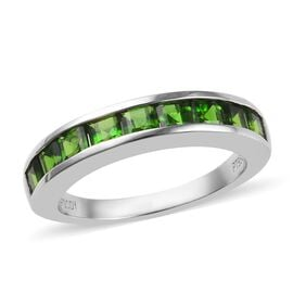 RHAPSODY 1.35 Ct AAAA Russian Diopside Half Eternity Band Ring in 950 Platinum 5.70 Grams