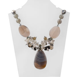 Grey Agate and Simulated Multi Gemstone Beaded Necklace 28 with 3 inch Extender