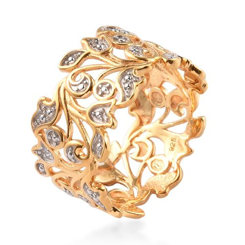 MP Designer Inspired- Diamond (Rnd) Leaf Ring in 14K Gold Overlay Sterling Silver