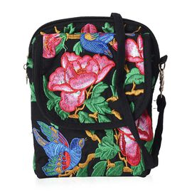 SHANGHAI  COLLECTION - Embroidered Flower and Bird Pattern Crossbody Bag with Detachable Strap and Z