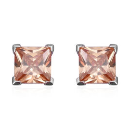 ELANZA Simulated Morganite (Sqr) Stud Earrings (with Push Back) in Rhodium Overlay Sterling Silver