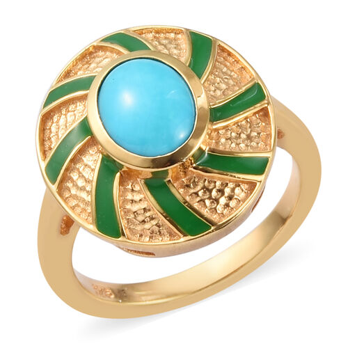 Arizona Sleeping Beauty Turquoise Enamelled Ring in 14K Gold Overlay Sterling Silver 1.00 Ct.
