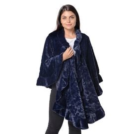 Super Soft Faux Fur Free Size Wrap with Loose Silhouette with Ruffle Border (L-70 Cm) - Navy Blue