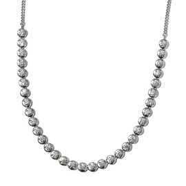 J Francis Platinum Overlay Sterling Silver Necklace (Size 18) Made with SWAROVSKI ZIRCONIA 8.92 Ct,
