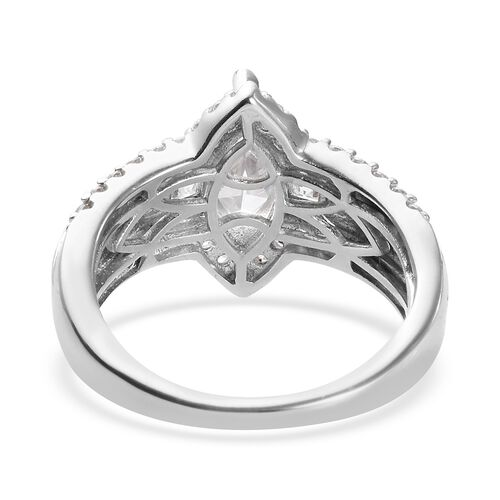 J Francis Platinum Overlay Sterling Silver Ring Made with SWAROVSKI ZIRCONIA