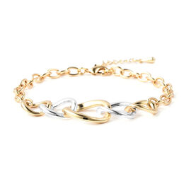 Adjustable Link Bracelet (Size 8-9.5) in Silver and Gold Tone