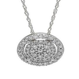 14K White Gold Diamond (I2/G-H) Pendant with Chain 0.25 Ct.