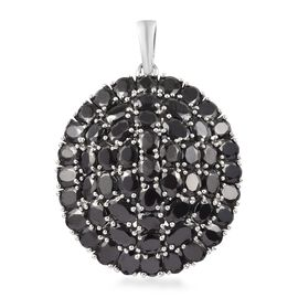 13.73 Ct Elite Shungite and Boi Ploi Black Spinel Cluster Pendant in Platinum Plated Silver