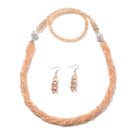 2 Piece Set - Simulated Champagne Diamond and White Austrian Crystal Beaded Necklace (Size 36 with M