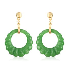 22.50 Ct Green Jade Drop Earrings in Gold Plated Silver with Push Back