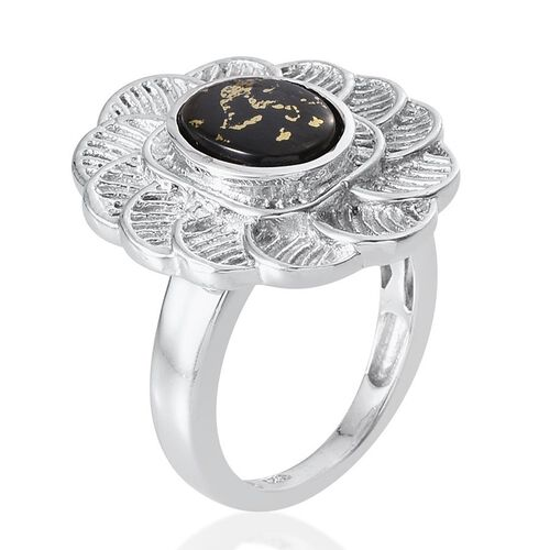 Goldenite (Ovl) Solitaire Ring in Platinum Overlay Sterling Silver 1.750 Ct. Silver wt 7.88 Gms.