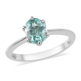 RHAPSODY 1 Carat AAAA Mozambique Paraiba Tourmaline Solitaire Ring in 950 Platinum 3.29 Grams