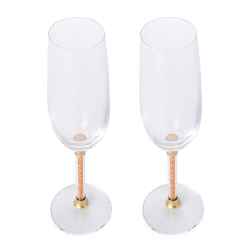 Set of 2 - Golden Crystal Filled Champagne Glass (Size 24.5X7 Cm)