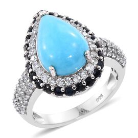 Arizona Sleeping Beauty Turquoise (Pear 4.85 Ct), Natural Cambodian Zircon and Kanchanaburi Blue Sapphire Ring in Platinum Overlay Sterling Silver 7.250 Ct. Silver wt. 5.35 Gms.