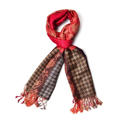 Designer Inspired - Red, Black and Multi Colour Houndstooth and Paisley Pattern Scarf with Tassels (Size 185X70 Cm)
