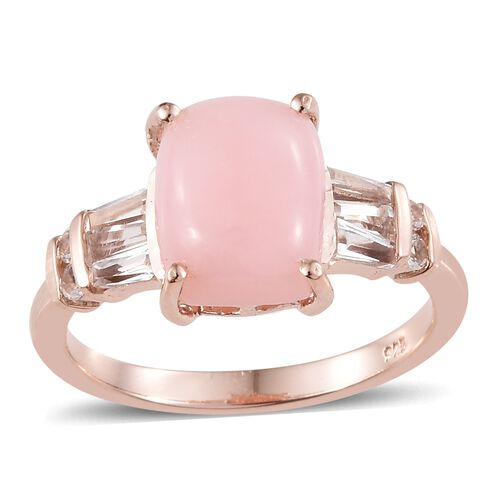 Peruvian Pink Opal (Cush 3.10 Ct), White Topaz Ring in Rose Gold Overlay Sterling Silver 4.000 Ct.