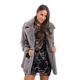 Faux Fur Suede Shearling Style Grey Coat