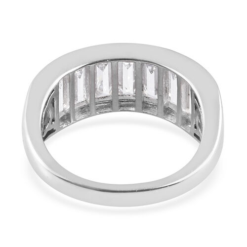 J Francis - Platinum Overlay Sterling Silver Ring Made with SWAROVSKI ZIRCONIA 4.47 Ct.