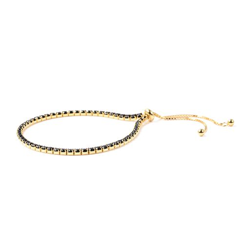 Lustro Stella Simulated Black Diamond (Rnd) Adjustable Bracelet (Size 6.5-8.0) in Yellow Gold Overlay Sterling Silver
