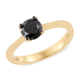 Black Diamond (Rnd) Solitaire Ring in 14K Gold Overlay Sterling Silver 1.000 Ct