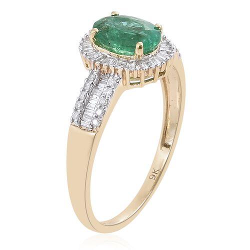 9K Yellow Gold Kagem Zambian Emerald (Ovl 1.10 Ct), Diamond Ring 1.500 Ct.