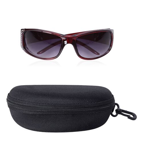 Shiny Wine Frame Sunglasses with Bling Crystals and UV Protection Lenses Including Hard Plastic Black Pouch