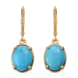 3.5 Ct Persian Turquoise Solitaire Lever Back Earrings in Gold Plated Sterling Silver