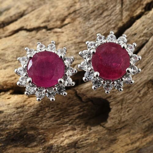 9K White Gold AAA African Ruby (Rnd), Natural Cambodian Zircon Stud Earrings (With Push Back) 3.000 Ct.