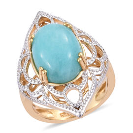 5.5 Ct Peruian Amazonite Solitaire Ring in Gold Plated Sterling Silver 5.98 Grams