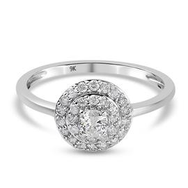 9K White Gold SGL Certified Diamond (I2 -I3/G-H) Ring 0.50 Ct.