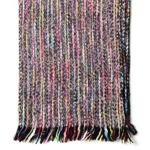 Designer Inspired-Grey and Multi Colour Stripes Pattern Scarf with Fringes (Size 200X65 Cm)