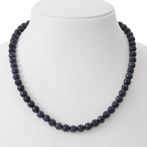 Very Rare Faceted Kanchanaburi Blue Sapphire (Round 8 mm) Beaded Necklace (Size 18) in Rhodium Plated Sterling Silver Magnetic Lock 250.00 Ct.
