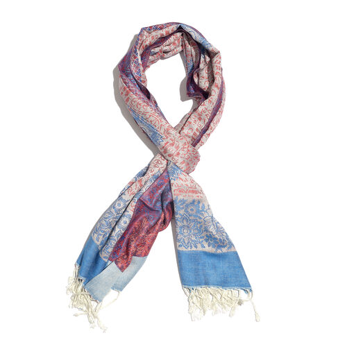 Blue, Red and Multi Colour Floral Pattern Scarf ( Size 180x70 Cm)