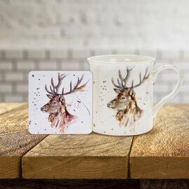 Lesser & Pavey - Country Life Stag Mug and Coaster (MUG-8.5X7.5 CM/ COASTER-10.5X10.5 CM)
