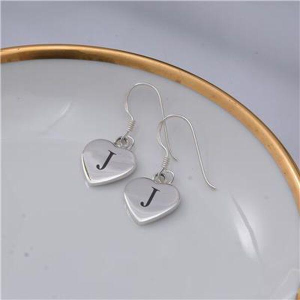 Personalised Engravable Heart Shape Initial Drop Earings